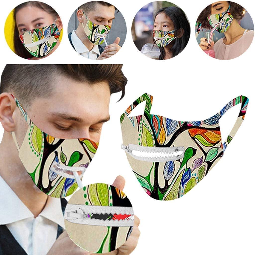 Lucksoon Washable Protective Bandana Men & Women Reusable Zipper Bandana Easy to Drink
