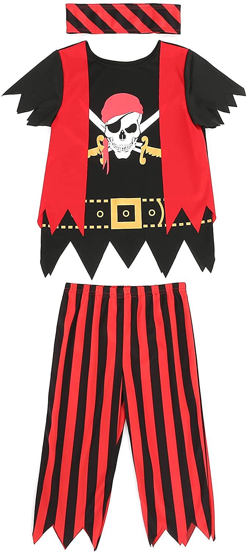 Boys Girls Pirate Costume 3pcs Set for Size 3-4,5-6,7-8,8-10