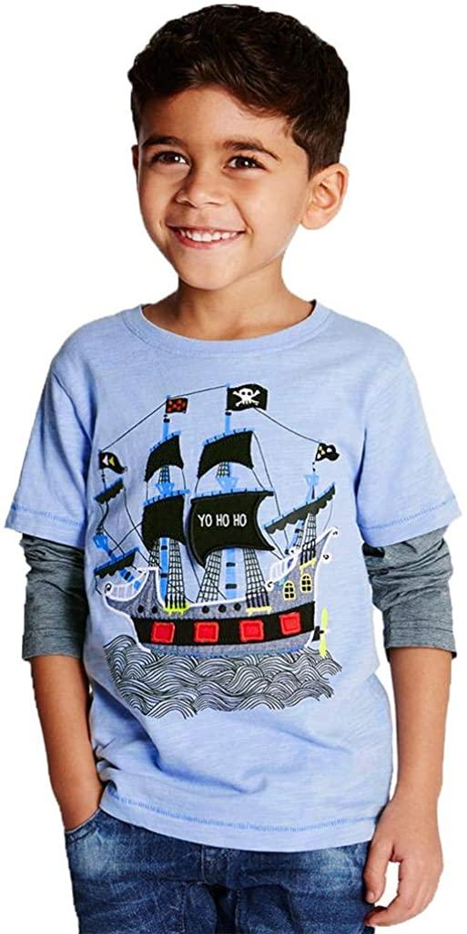 Coralup Little Boys Long Sleeve Cotton T-Shirt(3-4T,Blue)