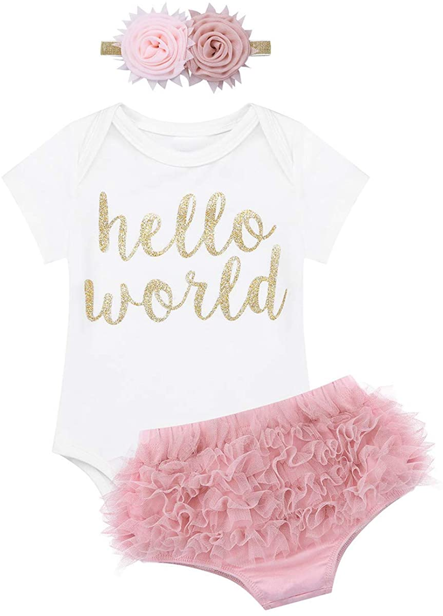 Freebily Baby Girls Coming Home 1st Birthday Cake Smash Shinny Glittery Letters Romper with Bloomers Clothing Set