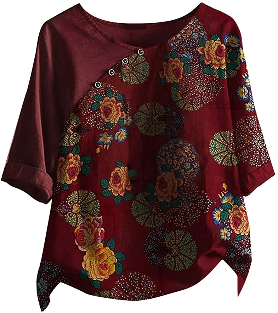 Vintage Cotton Linen Casual Blouse Plus Size T Shirts for Women Graphic Flower Ladies Tops Long Sleeve Tees Loose Tunic