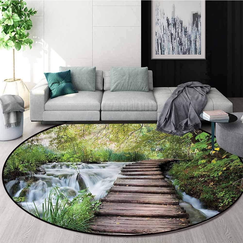 RUGSMAT Jungle Dining Room Home Bedroom Carpet Floor Mat,Stream in Green Jungle Super Soft Living Room Bedroom Home Shaggy Carpet Diameter-55