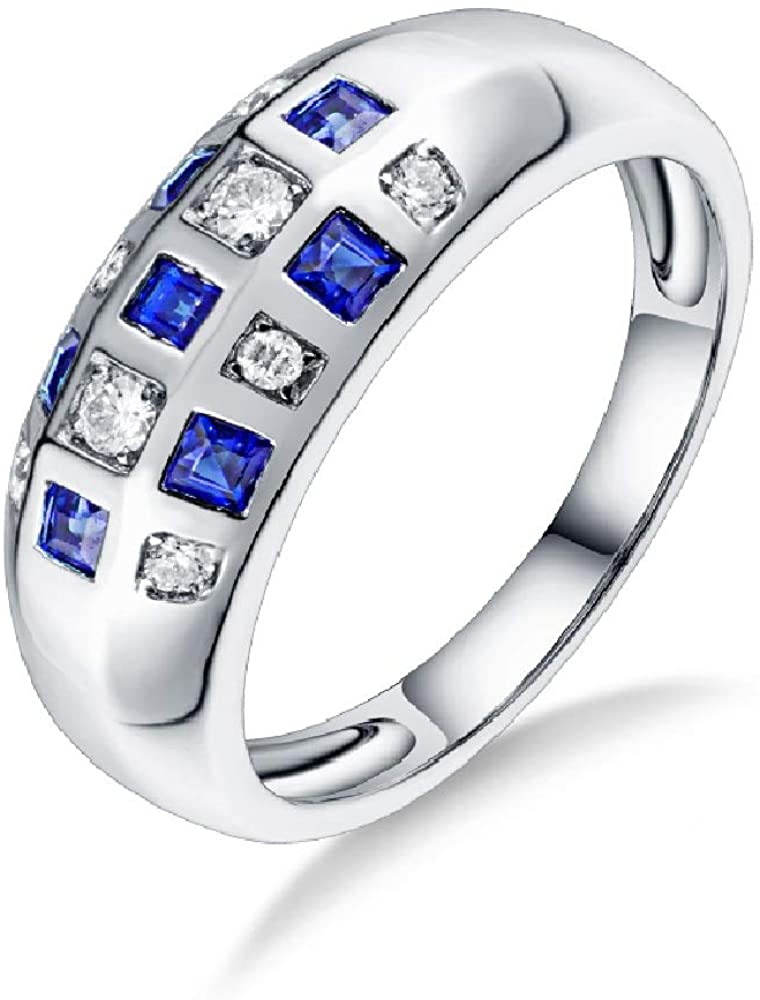 Lanmi 14K White Gold Genuine Blue Yellow Sapphire Promise Rings Engagement Wedding for Women