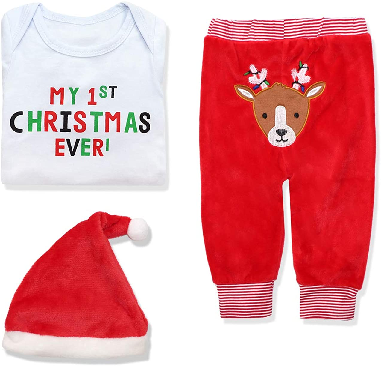 Christmas Baby Girls Boys Outfit My First Christmas Rompers 3Pcs Set