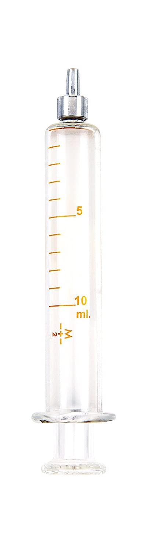 TRUTH 01-09-03-07 Borosilicate Glass Reusable Syringe with Metal Luer Tip, 10 mL Capacity, 1 mL Graduation