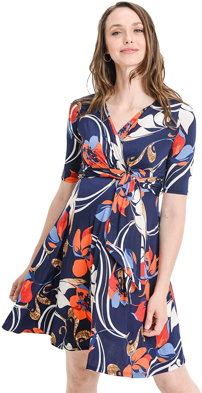 HELLO MIZ Womens Maternity Wrap Dress with Front Tie Belt (Navy/Orange, S)