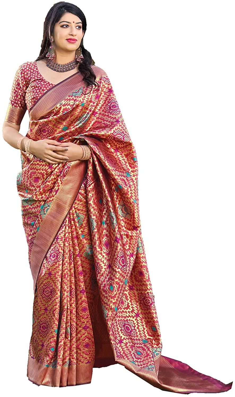 Saree for Women Bollywood Wedding Designer Orange Sari with Unstitched Blouse.