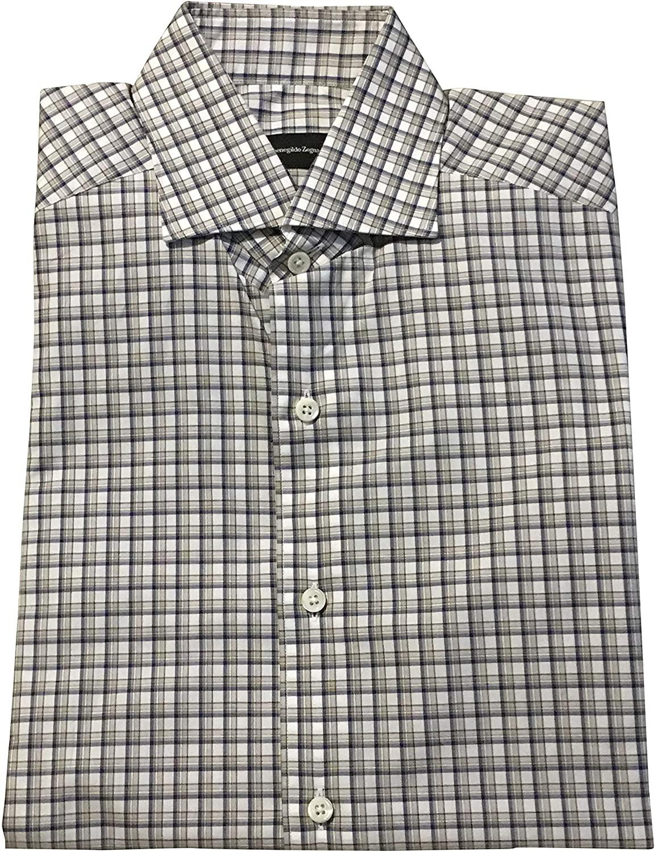 Ermenegildo Zegna Multicolored Check Dress Shirt Size Small Beige