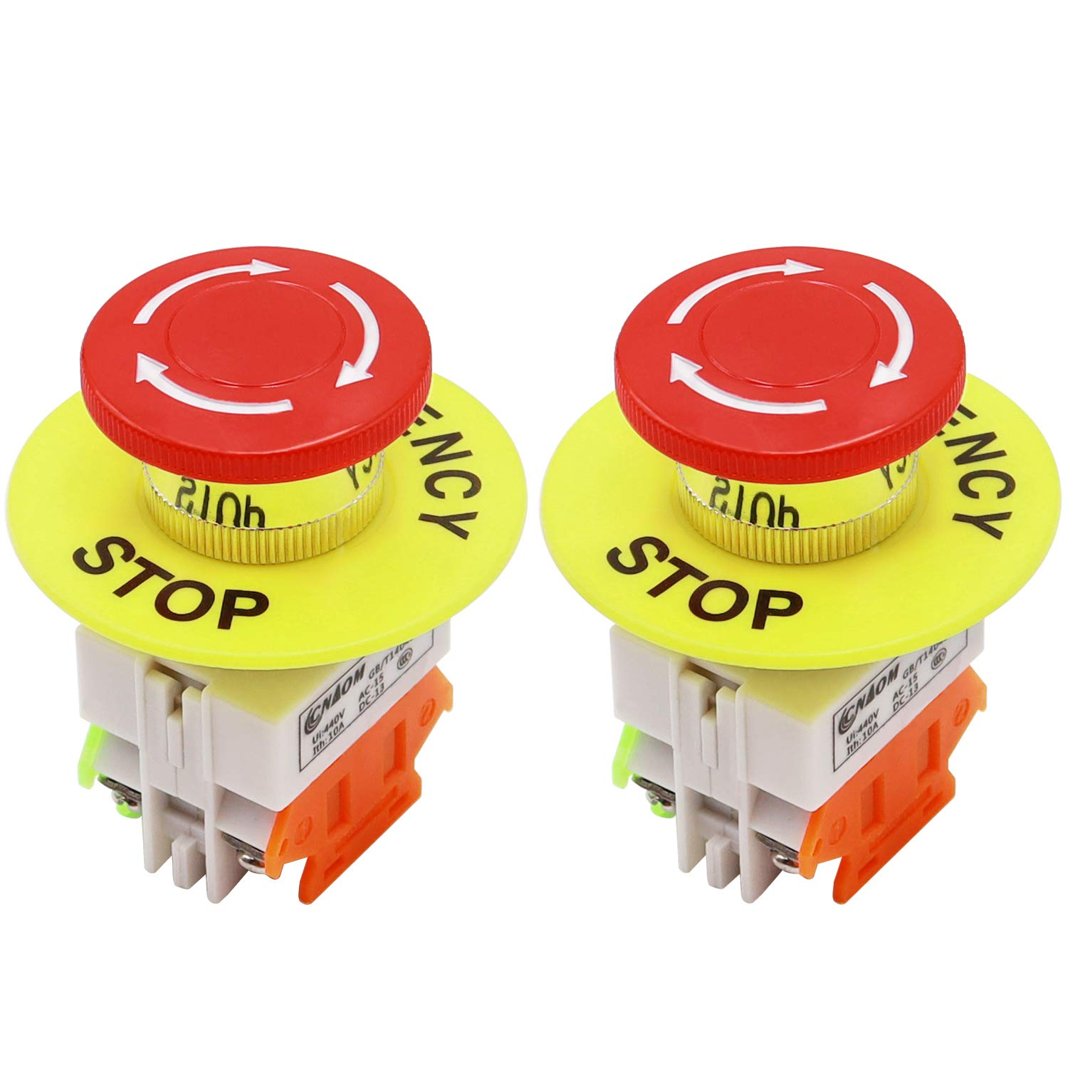mxuteuk 2pcs 22mm 1NO 1NC Red Mushroom Latching Emergency Stop Push Button Switch with 60mm Emergency Stop Sign 10A 440V LAY37