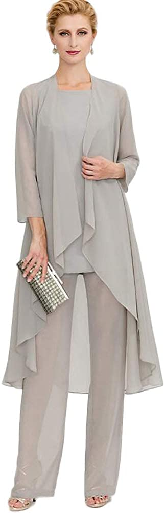 Women's Formal Silver 3 Pieces Chiffon Mother of The Bride Dress with Outfit Wedding Party US2