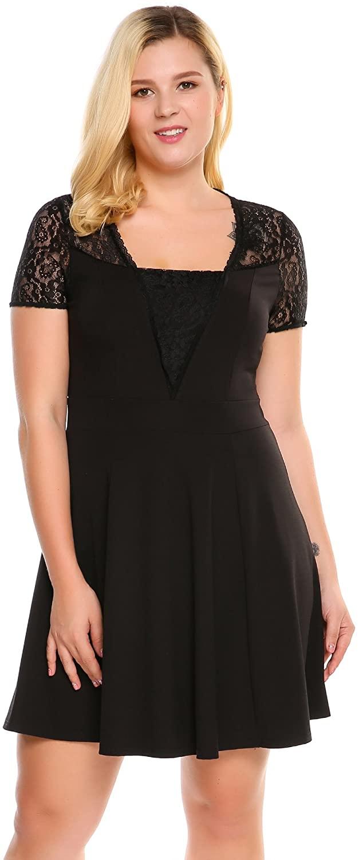 INVOLAND Women Plus Size Lace Cap Sleeve Fit Flare Mini Party Dresses
