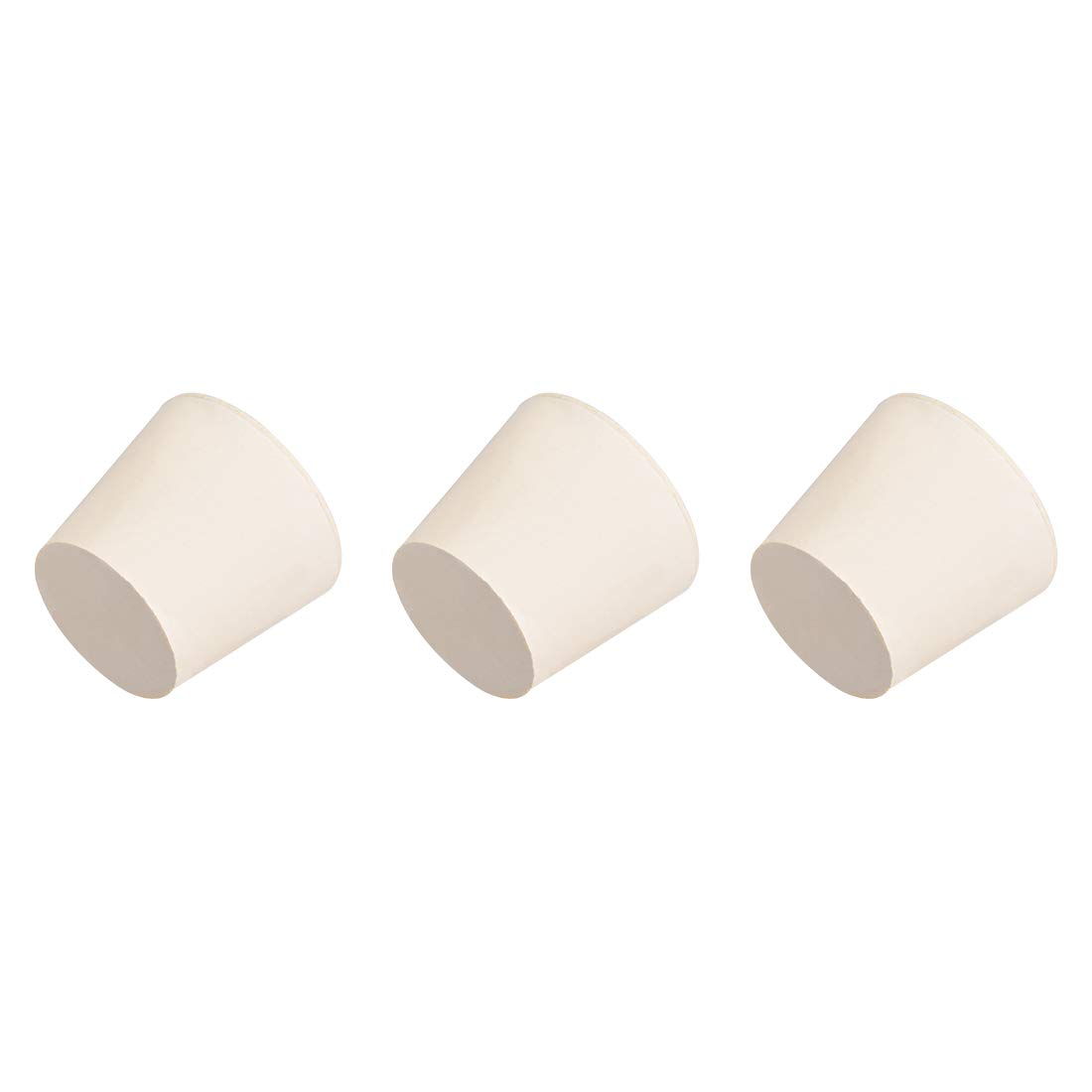 uxcell White Tapered Shaped Solid Rubber Stopper for Lab Tube Stopper Size 6 3Pcs