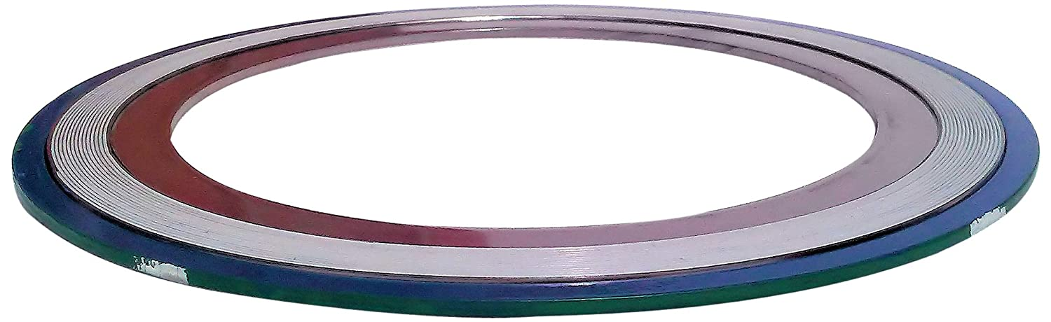 Sur-Seal, Inc. Teadit 9000IR5316PTFE2500 Green Band with White Stripe 316SS/PTFE Spiral Wound Gasket with 316SS Inner Ring, -150 to 500 degrees F Temperature Range, 4.90