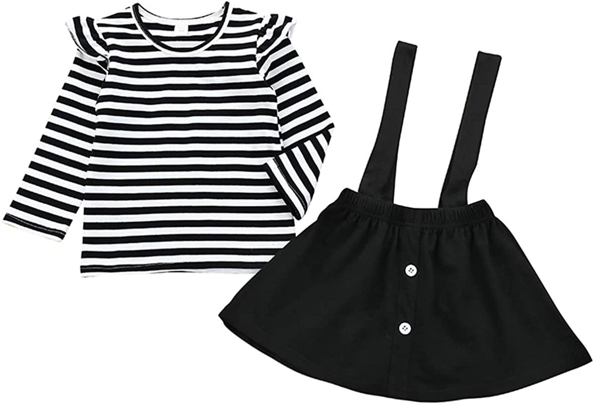 Baby Girl Suspender Skirt Set Toddler Girls Long Sleeve Ruffled T-Shirts Strap Overall Skirt Sunflower Clothes