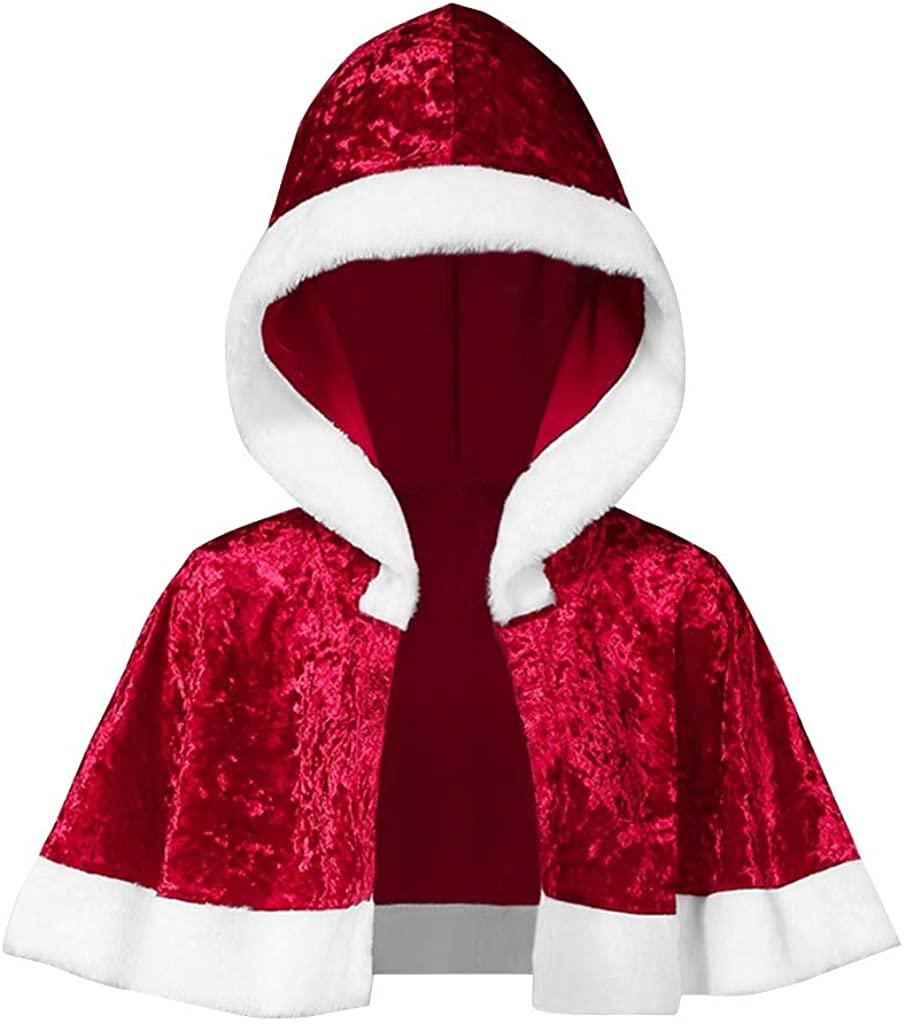 ZEFOTIM 2019 Christmas Dress, Womens Cloak Family Matching Velvet Christmas Hooded Cape Santa Coat