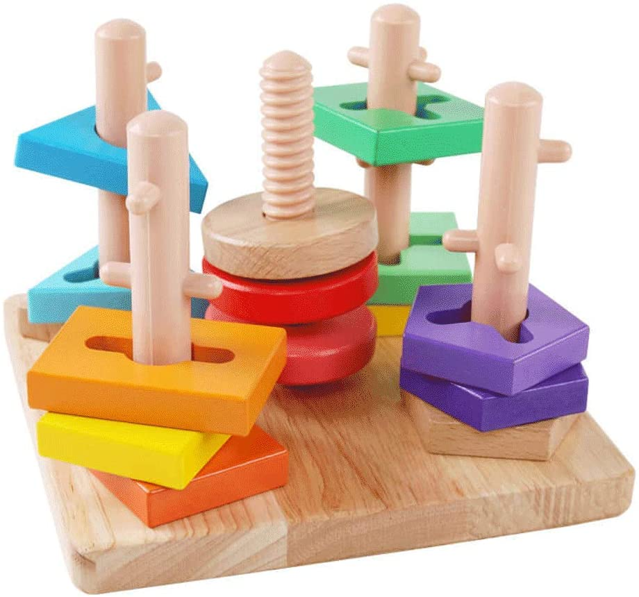Educational Puzzle Building Blocks Toys Children Girls Babies Early Education Boy Shape Pairing Colorful Buildings IQ Development Combination Toys (Size : B)