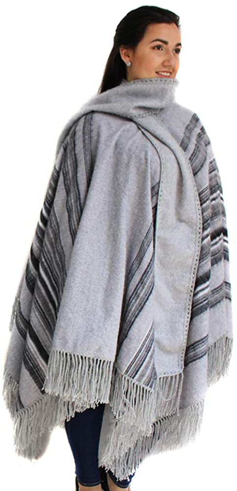 Alpaca Wool Poncho Cape Ruana Cloak Pinstripe with Scarf Made in Peru