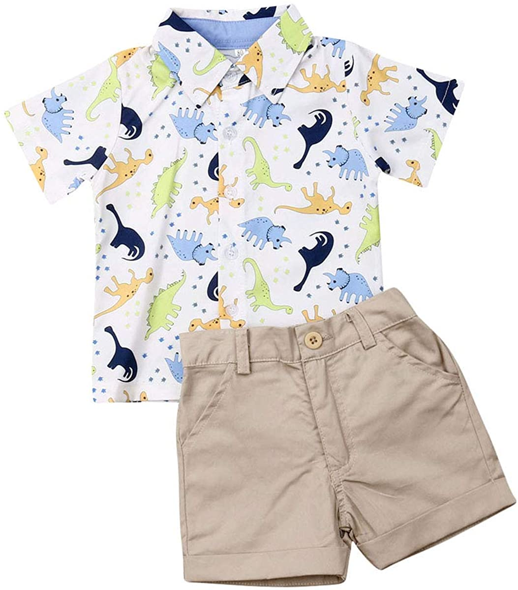 Toddler Kids Baby Boys Summer Clothes Short Sleeve Dinosaur Button Down Shirt Top + Solid Color Shorts Outfits Set