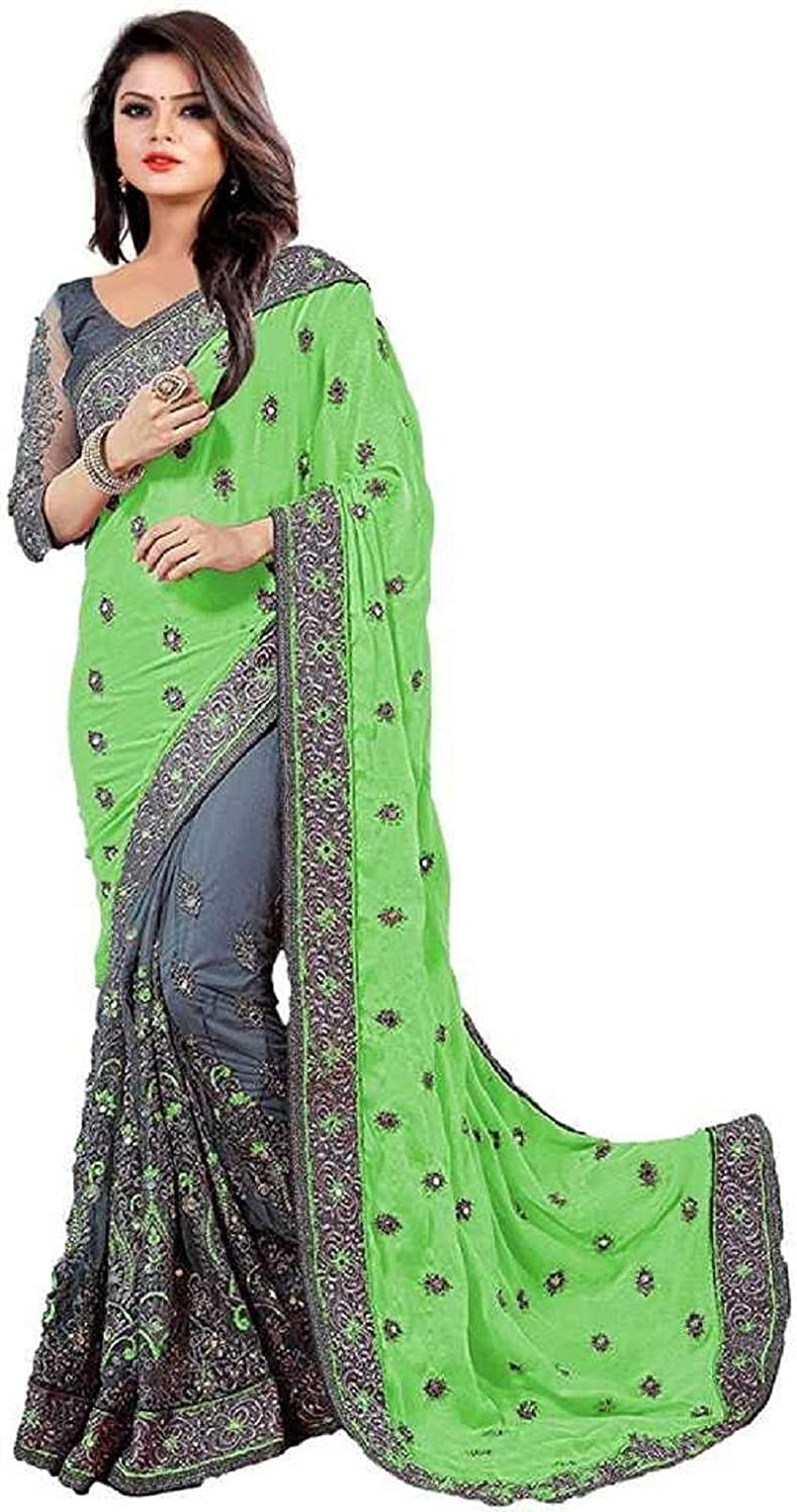 FABZONE Women's Georgette Saree with Unstitched Blouse Piece