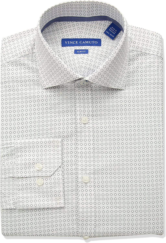 Vince Camuto Men's Slim Fit Performance Navy Geo Print Dress Shirt
