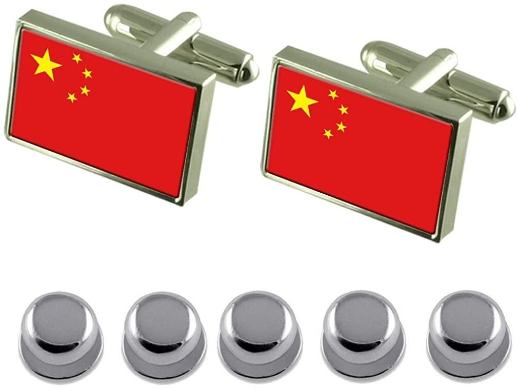 Select Gifts Shirt Dress Studs China Flag Cufflinks