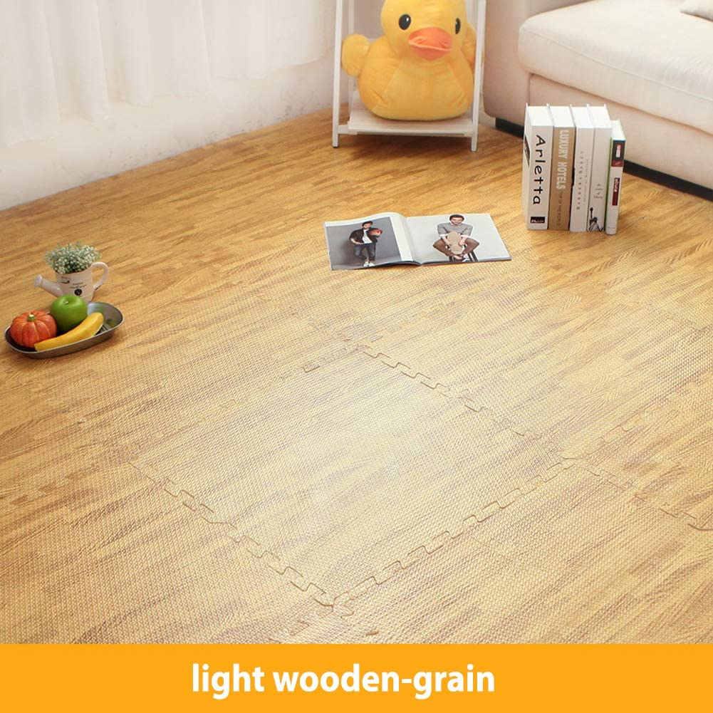 FairOnly 30x30cm Waterproof Wooden Grain Sound Insulation Nonslip Creeping Mat for Kids Light Wood Grain 30x30x1.0cm [First Grade] can be Combined with 601.0