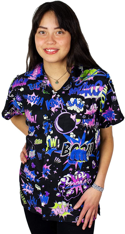 King Kameha Funky Hawaiian Blouse Shirt for Women Short Sleeve Front-Pocket Boom Bang Comic Multiple Colors