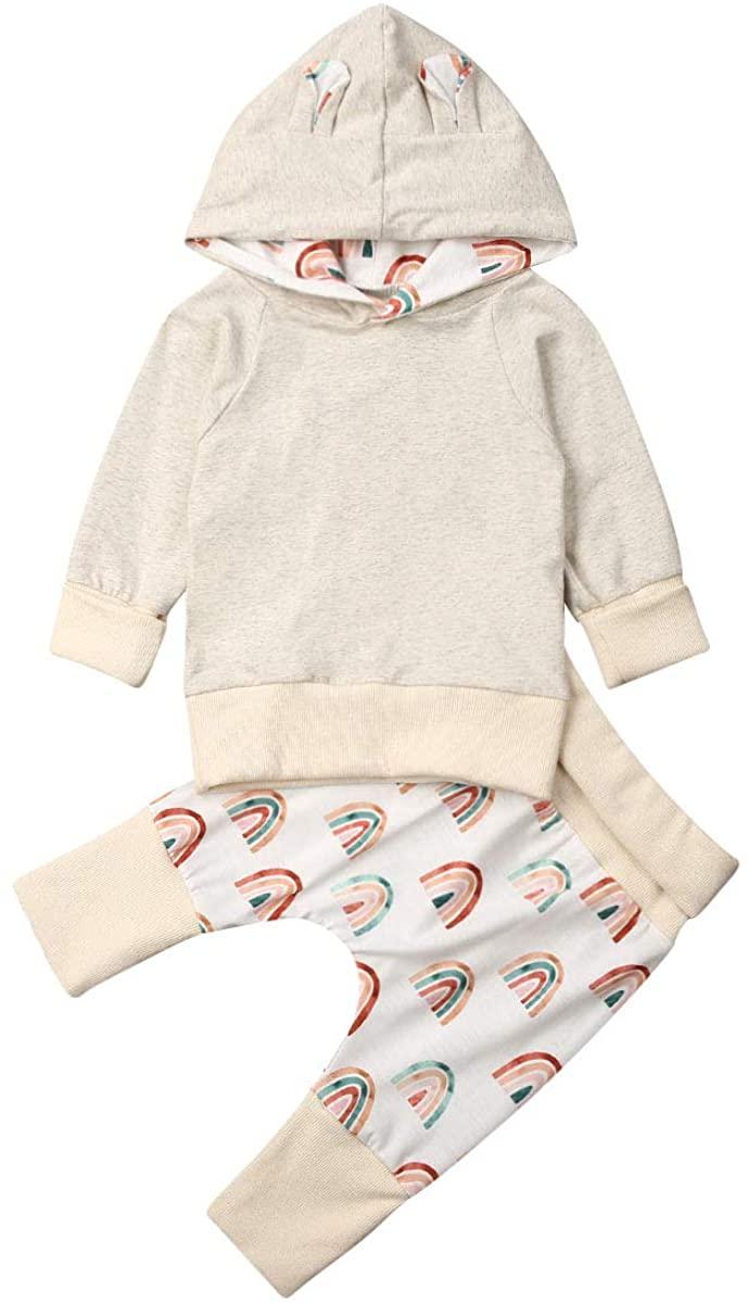 Newborn Baby Girls Boys Long Sleeve Rainbow Print Hoodie Pullover Tops Pants Outfits Set