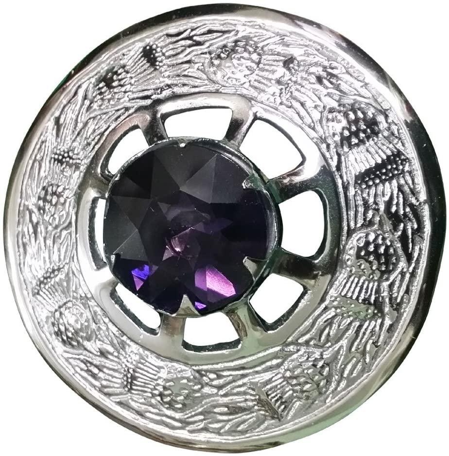 Scottish Fly Plaid Kilt Brooch Thistle Design with Stone High Quality Chrome Finish (Purple Stone)