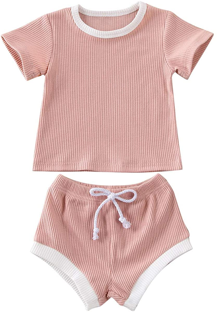 2PCS Newborn Unisex Baby Boy Girl Summer Clothes Solid Cotton Ribbed Knit Short Sleeves T-Shirt Top+Shorts Bloomer