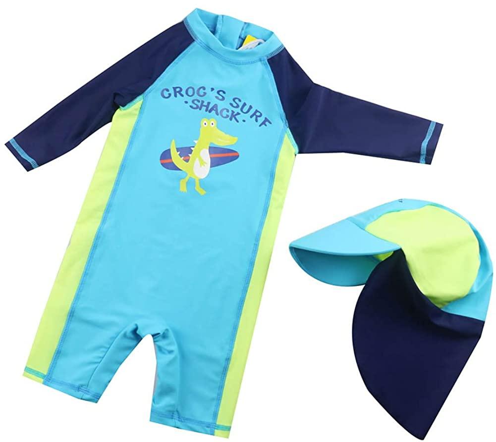 Toddler Baby Boy Girl Swimsuit Infant One-Piece Zip Rashguard Swimsuit UPF 50+ Sun Protection Free Sun Hat