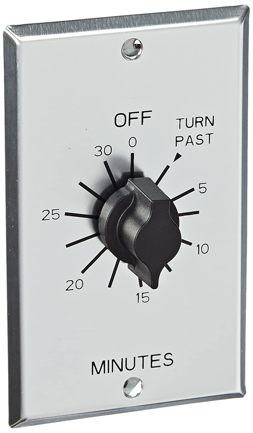 NSi Industries TORK C530M In-Wall Spring Wound 30-Minute Commercial Grade Mechanical Interval Timer Switch - for Fans, HVAC, Whirlpools, Motors and Pumps - Automatic Off  - Metal Single-Gang Wall Plate Included