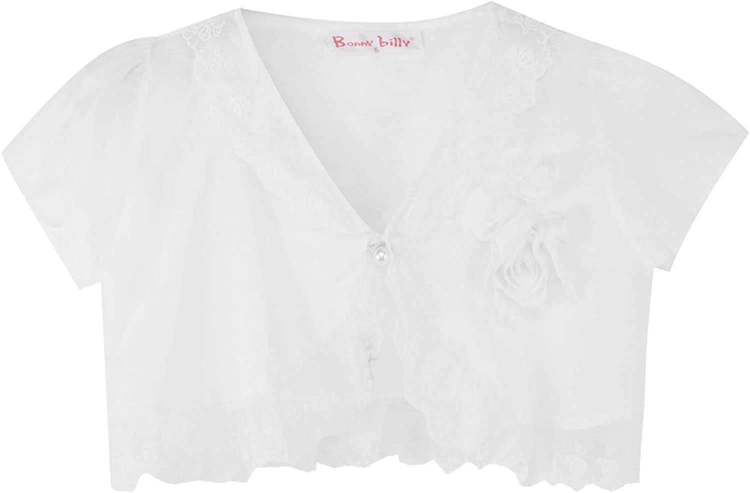 Bonny Billy Big Girls' Cap Sleeve Lace Bolero Cardigan Shrug 10-11 Years White