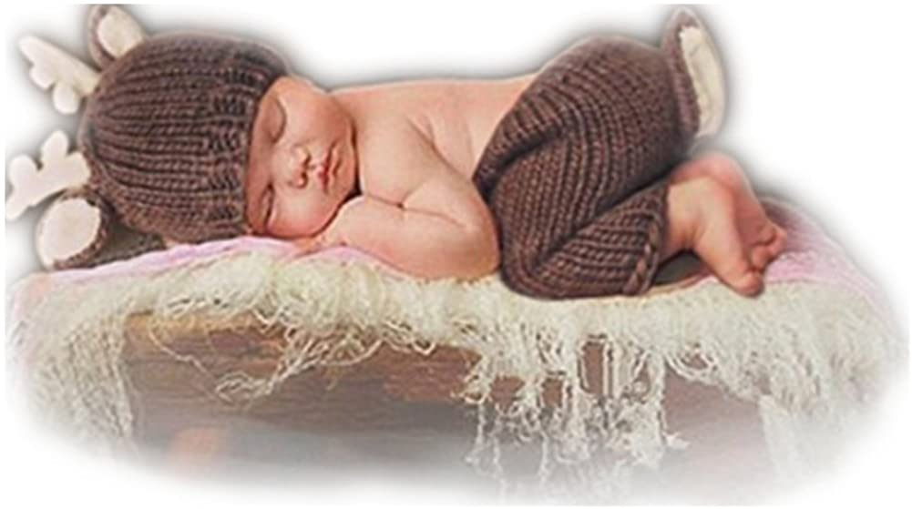 Newborn Boy Girl Baby Photography Props Outfits Deer Hat Pants Photo Shoot Clothes Brown