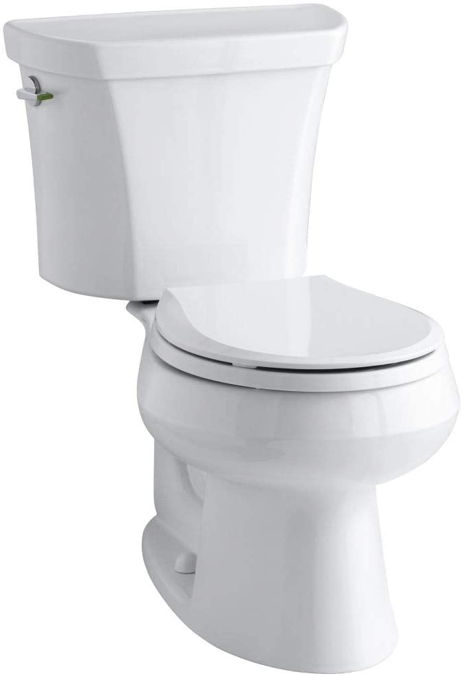 KOHLER K-3987-0 Wellworth Two-Piece Round-Front Dual-Flush Toilet with Class Five Flush System and Left-Hand Trip Lever, White