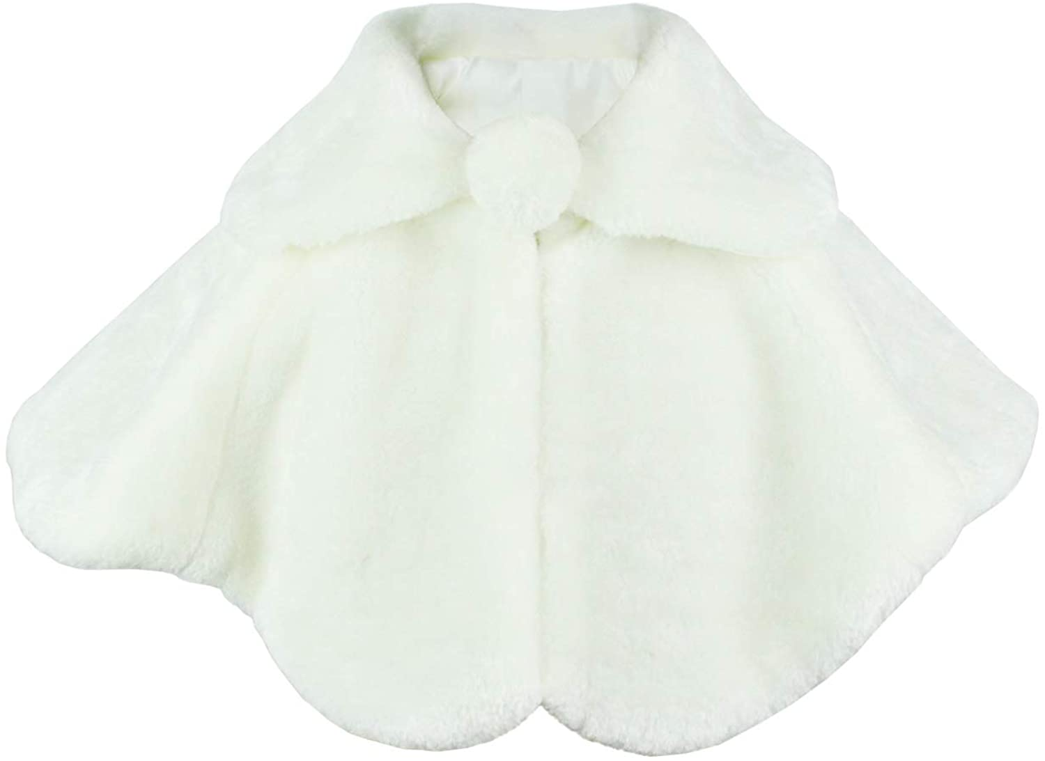 Abbyabbie.Li Flower Girl Cozy Faux Fur Bolero Shrug Shawl Wraps Princess Cape