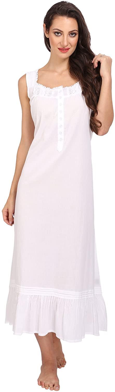 Victorian Style Nightgown Sleeveless Long Sleepwear Women Cotton Plus Size Vintage Nightdress