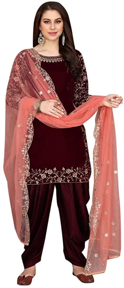 SHRI BALAJI SILK & COTTON SAREE EMPORIUM 9342 Ready to Wear Indian Velvet Kameez Salwar Suit Pakistani Punjabi Party Women (Dark Red, 10)