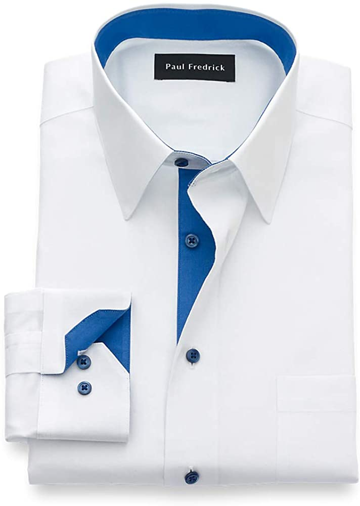 Paul Fredrick Men's Non Iron Two Ply Cotton Solid, Point Collar, Mitered Button