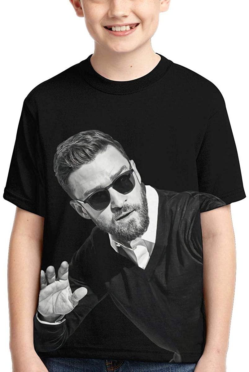 AsziSham Justin Timberlake Girl's Boys' Short Sleeve Comfort Soft Tee Shirt Black