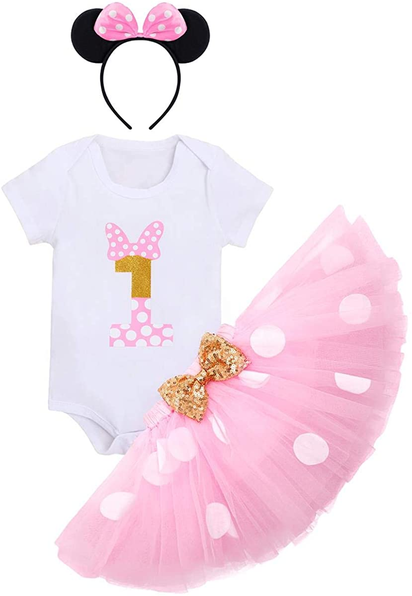 Baby Girls 1st Birthday Outfit Polka Dots ONE Romper Tutu Skirt Mouse Ears Headband Cake Smash Costume for Photo Shoot