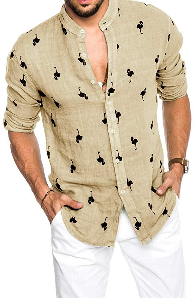 Mens Summer Flamingo Shirts Long Sleeve Buttons Down Aloha Beach Hawaiian Shirt