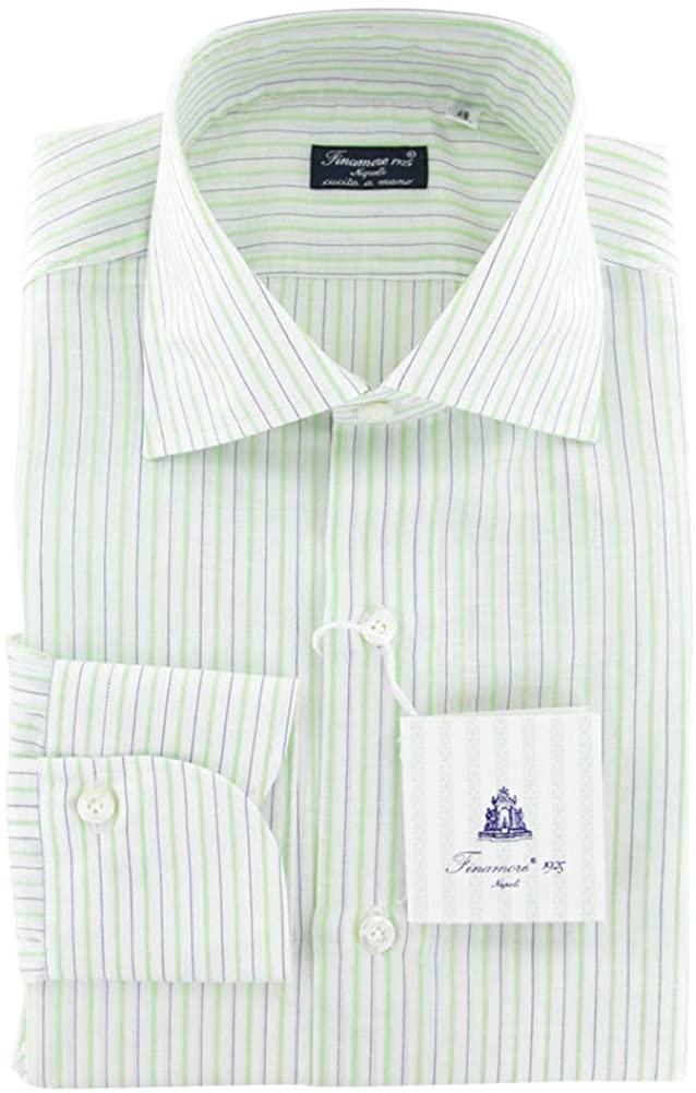 Finamore Napoli Stripes Button Down Spread Collar Cotton Blend Slim Fit Dress Shirt