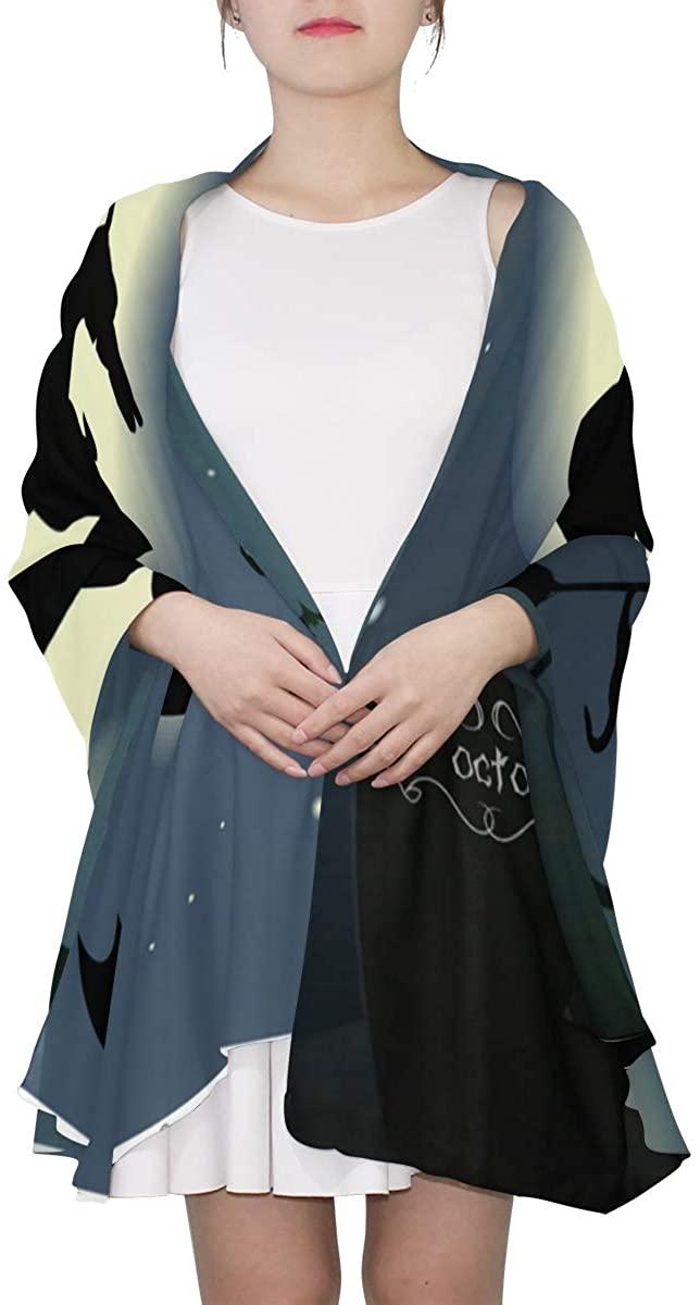 Ethel Ernest Happy Halloween Night Silk Scarf Lightweight Shawl Soft Long Scarves Chiffon Neckerchief for Womens Girls Ladies