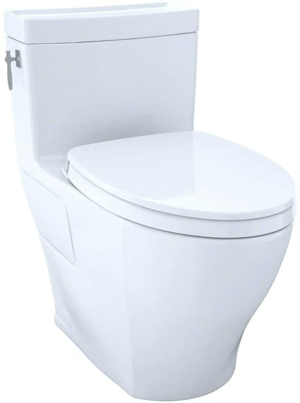 TOTO MS626124CEFG#01 Aimes WASHLET Elongated 1.28 GPF Universal Height Skirted CeFiONtect, White-MS626124CEFG One-Piece Toilet, Cotton White