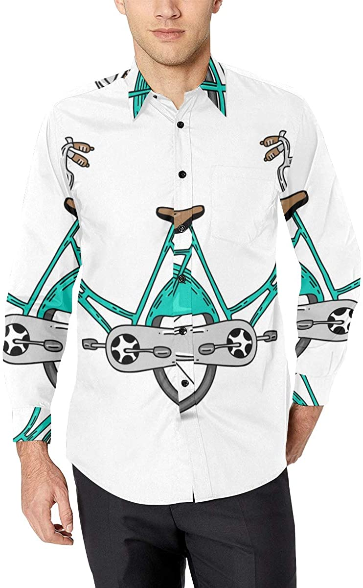Printed Dress Shirts Casual Mens Shirts Cute and Cool Bicycle Soft Long Sleeve Shirt Men Men's Printed Fashion