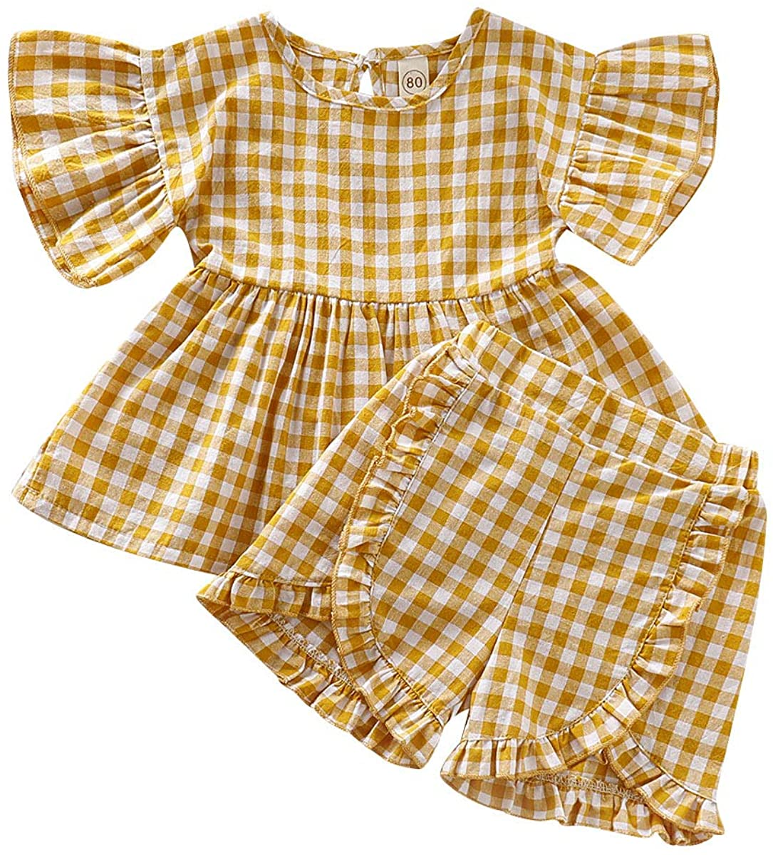Toddler Baby Girls Plaid Clothes Set Summer Gingham Short Sleeve Ruffle Shirt Tunic Tops+Short Pants 2Pcs Floral Outfits
