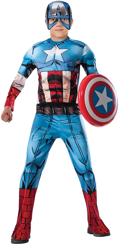 Marvel Avengers Assemble Captain America Deluxe Muscle-Chest Costume, Medium