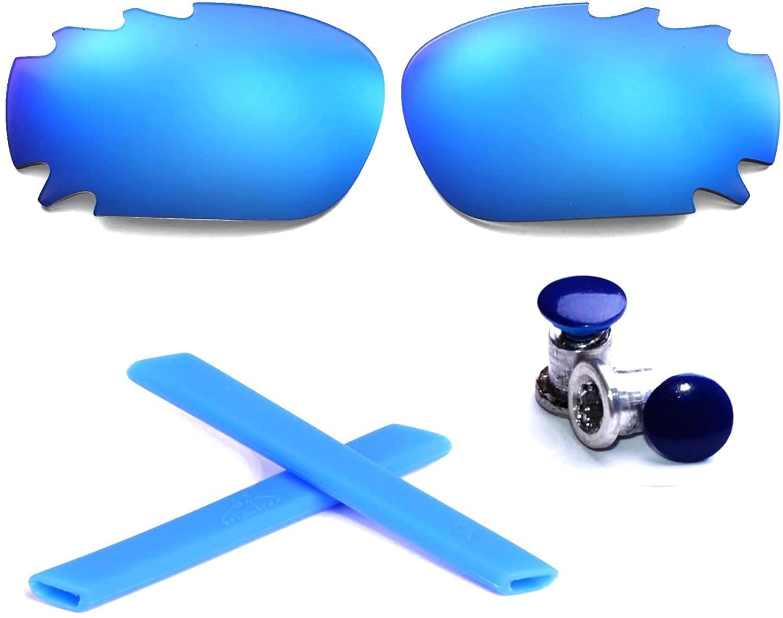 Walleva Polarized Ice Blue Vented Lenses+Blue Earsocks+Bolt For Oakley Racing Jacket