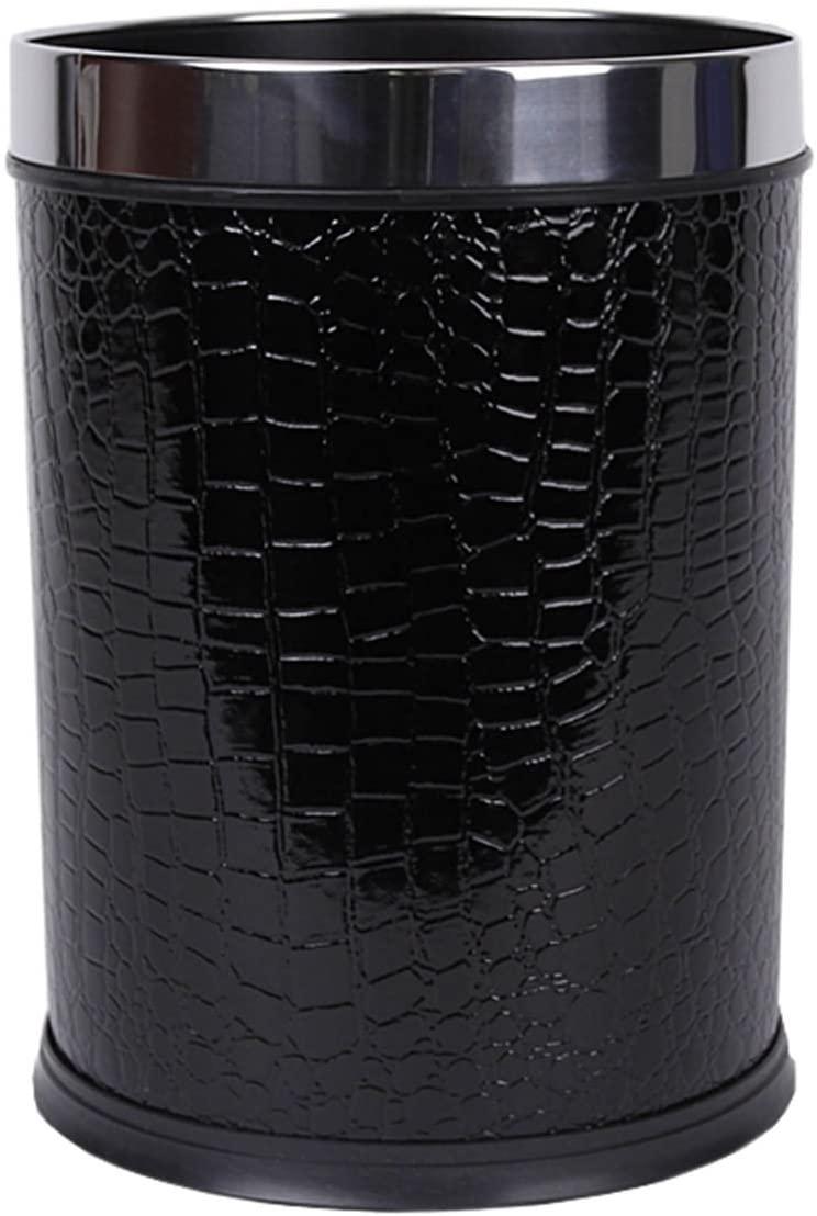 Gentle Meow Round Wastebasket Waste Bin, 8.86 (Diameter) x 12.01 (Height) Inch, Black